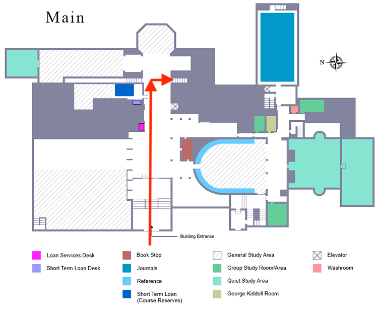First floor map showing the entrance, towards the stair case on the far right down the cooridor from the entrance