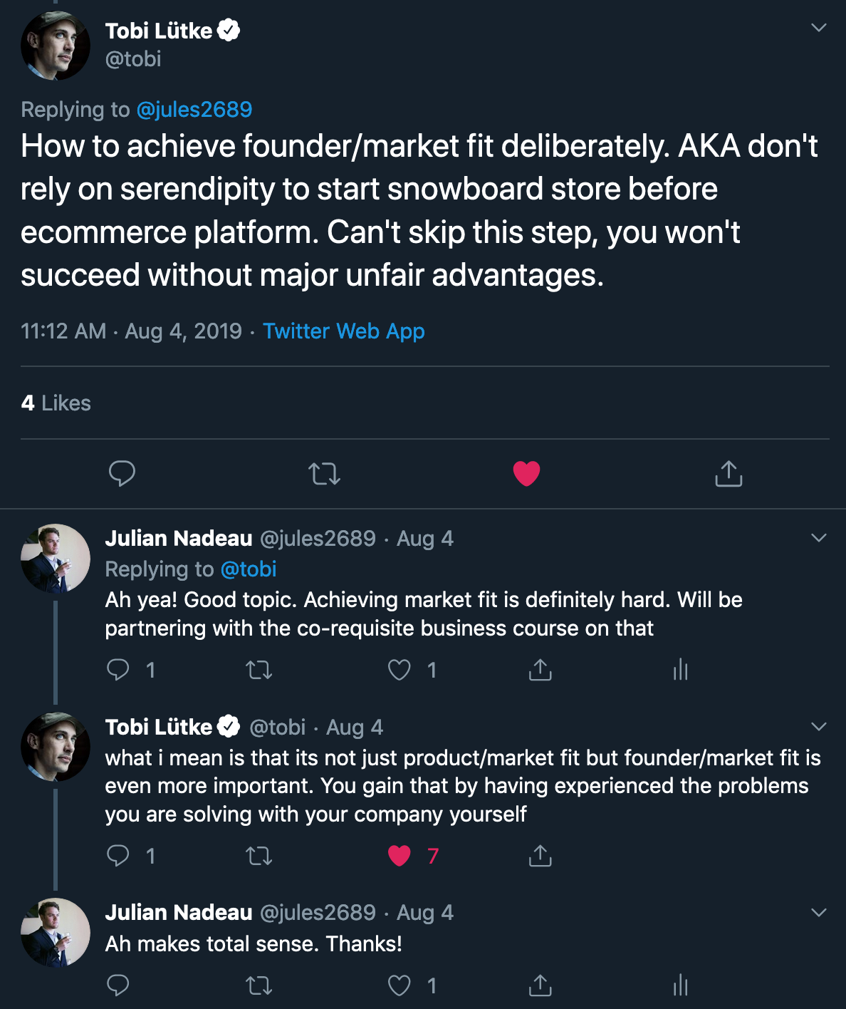 height:500px legend:Tobi Lütke's response about product market fit